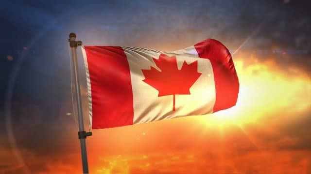 Canada Flag At Sunrise Loop: Stock Motion Graphics