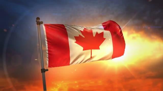 Canada Flag At Sunrise Loop: Stock Motion Graphics