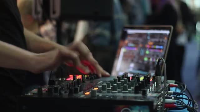 DJ Working With Audio Mixer: Stock Video