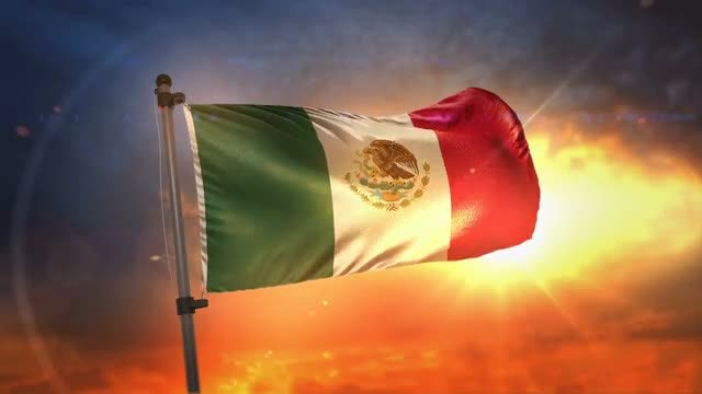 Mexico Flag Fluttering During Sunrise: Stock Motion Graphics