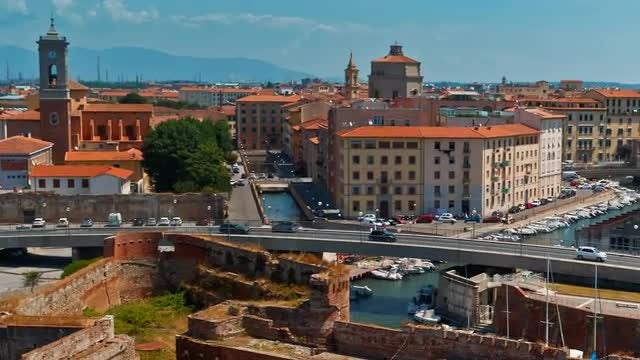 Wide-angle Shot Of Livorno Town: Stock Video