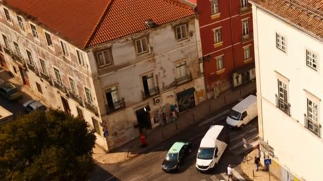 Aerial Shot Of Alfama District: Stock Video