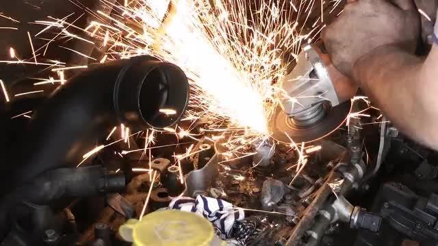 Grinding Machine Smoothening Car Engine: Stock Video