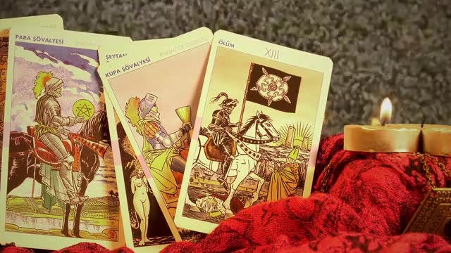 Tarot Cards And A Candle: Stock Video