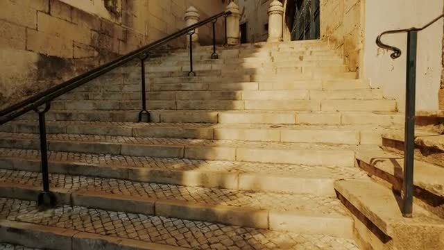 Cobbled Stairs In Lisbon: Stock Video