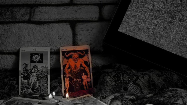 Tarot Cards In Dark Room: Stock Video