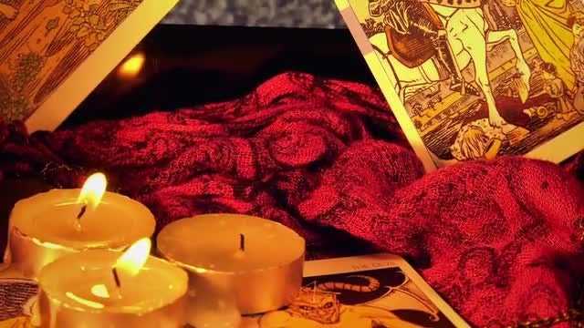 Tarot Cards And Burning Candles: Stock Video