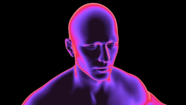 Blue Transparent Man Rotating Loop: Stock Motion Graphics
