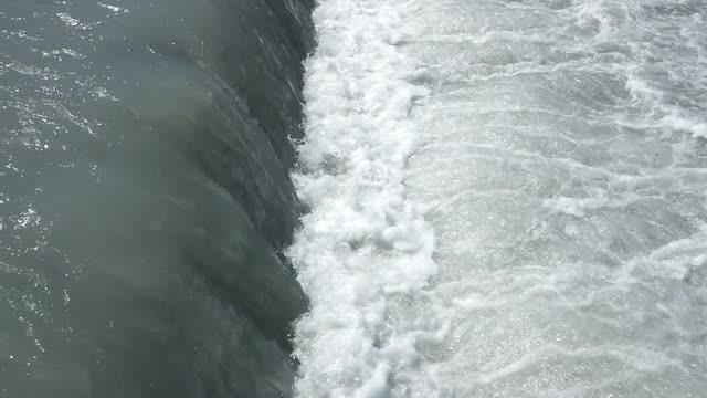 Wide Waterfall With Foamy Water: Stock Video