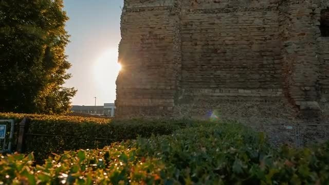 Sunset Over Medieval Castle Ruins: Stock Video