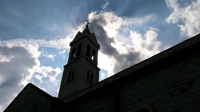Low-angle Shot Of A Church: Stock Video