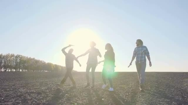 Friends Dancing And Walking Outdoors: Stock Video