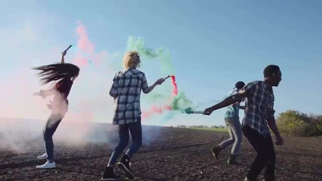 Fun With Colored Smoke Grenades: Stock Video