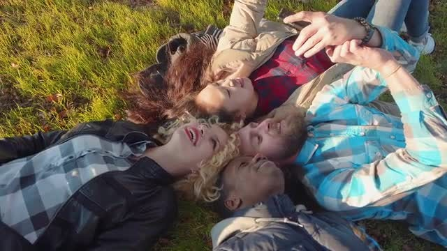 Group Portrait On The Grass: Stock Video