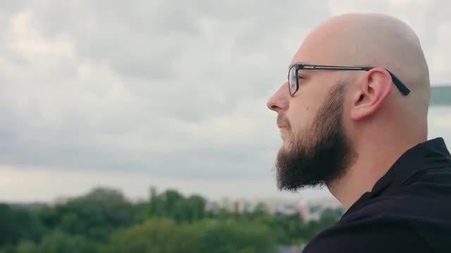Serious Man Admiring Nature: Stock Video