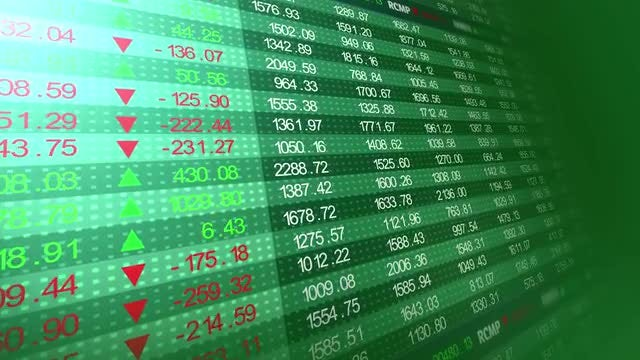 Green Stock Market Board: Stock Motion Graphics
