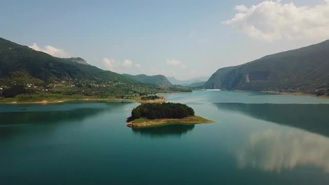 Wide-Angle Shot Of Mountainous Island: Stock Video