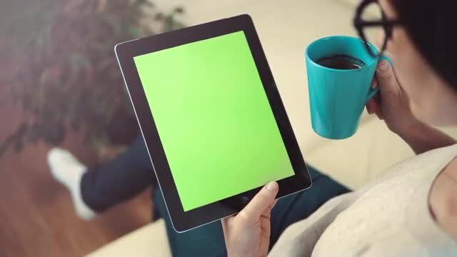 Woman With Tablet And Coffee: Stock Video