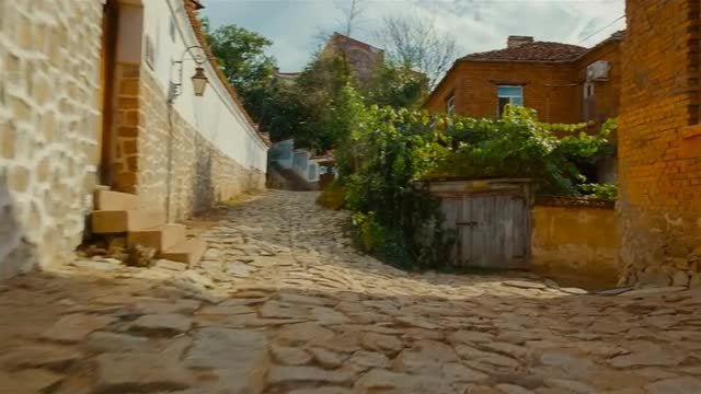 Walking The Cobbled Streets Of Medieval Town: Stock Video