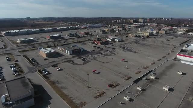 Flying Over Shopping Plaza: Stock Video