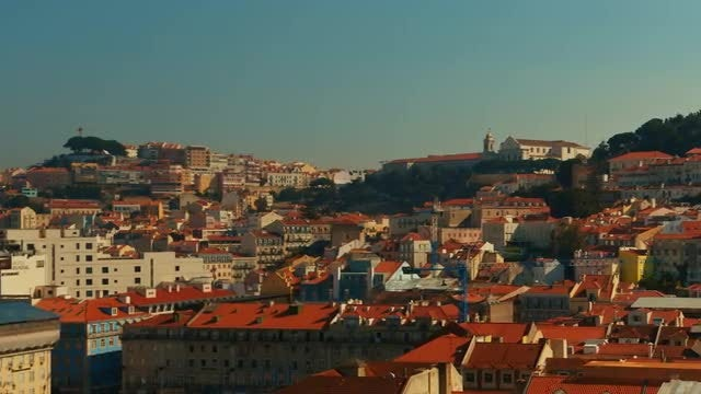 Aerial View Of Lisbon Downtown: Stock Video