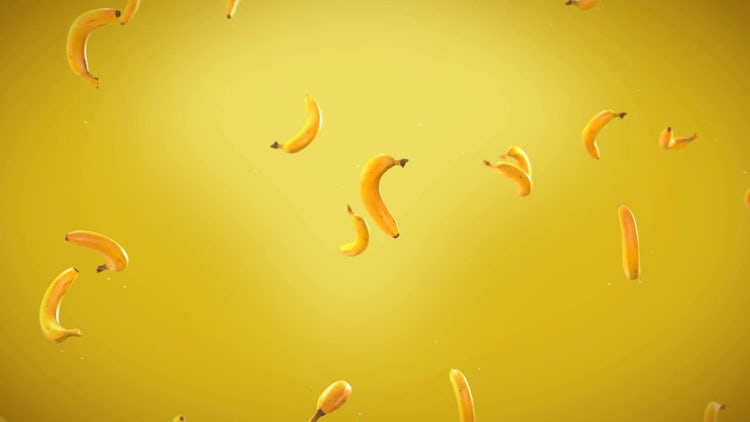 Bananas Floating Up: Stock Motion Graphics