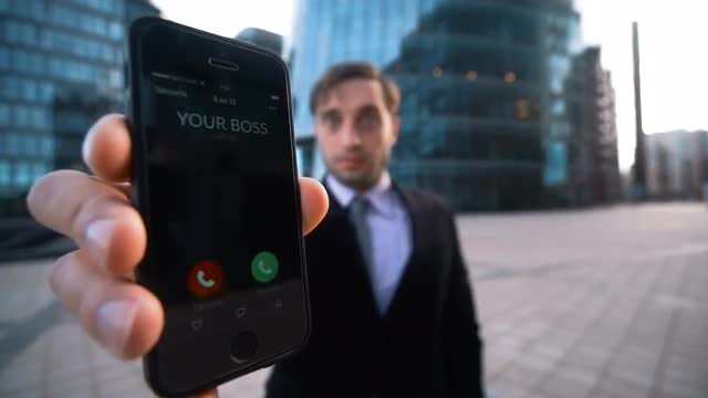 Showing An Incoming Call From Boss: Stock Video