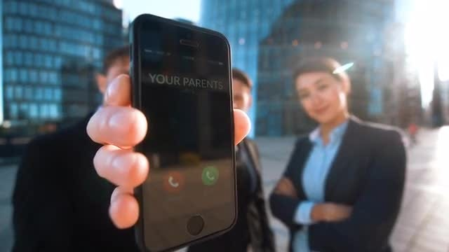 Business People Showing Incoming Call: Stock Video