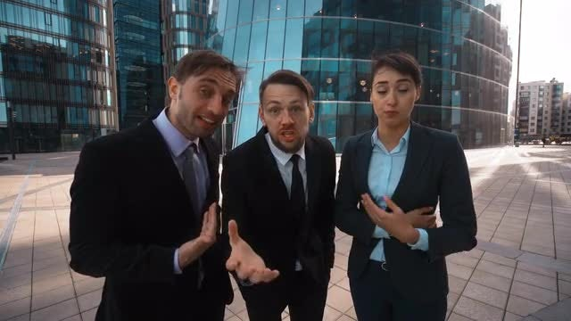 Business People Swearing At Camera: Stock Video