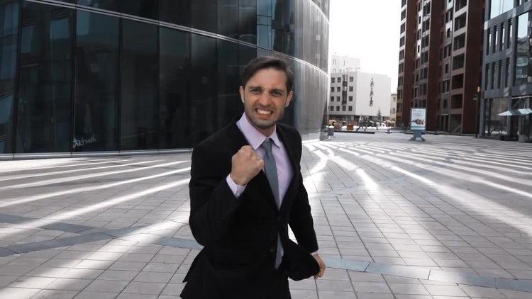 Businessman Happy Twist  From Success: Stock Video