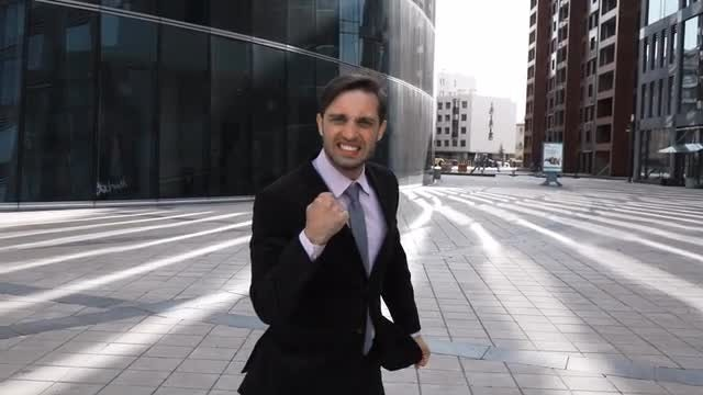 Businessman Happy Twist  From Success: Stock Video