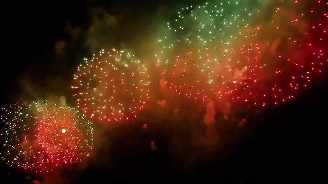 Colorful Fireworks Exploding At Night: Stock Video