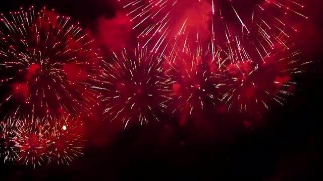 Fireworks Exploding In The Sky: Stock Video