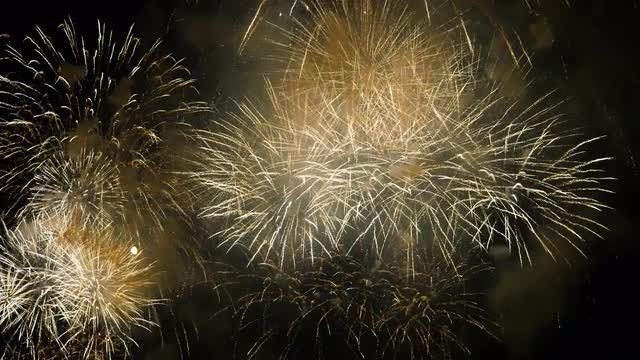 Fireworks Decorating The Dark Sky: Stock Video