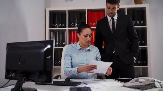 Two Employees In The Office: Stock Video
