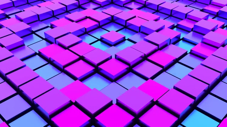 Loopable Undulating Purple-Blue Cubes: Stock Motion Graphics