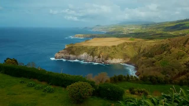 The Green Cliffs Of Azores: Stock Video