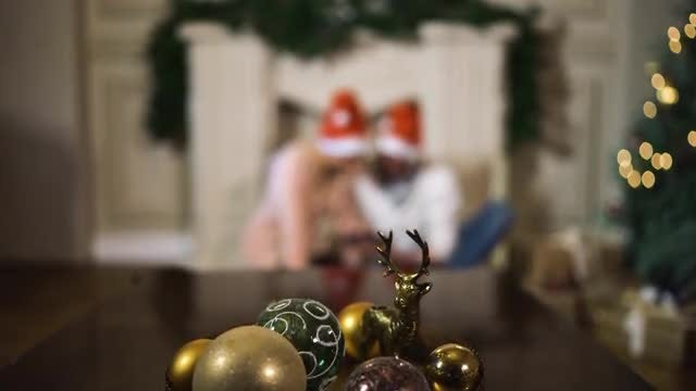 Couple Celebrating Christmas: Stock Video