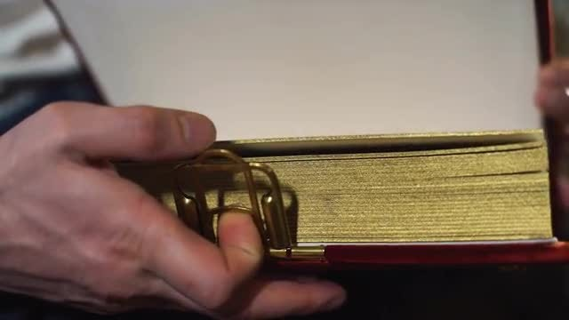 Opening An Antique Book - Album: Stock Video