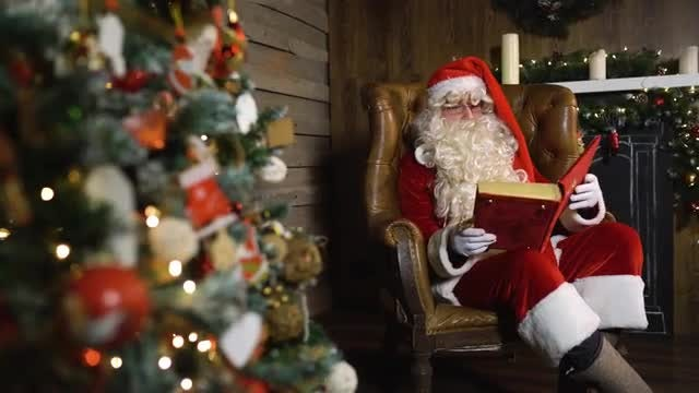 Santa Claus With Red Book: Stock Video