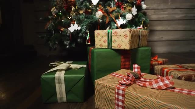 Christmas Tree And Gift Boxes: Stock Video