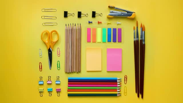 Stop Motion Video Of Stationery: Stock Video