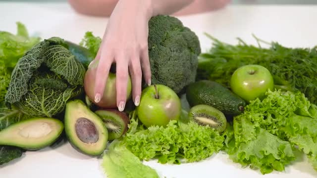 Green Vegetables And Fruits: Stock Video