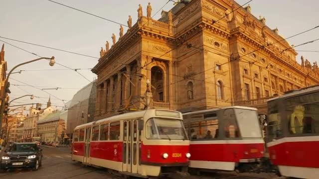 Traffic Flowing In Prague: Stock Video