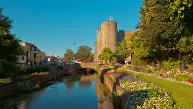 River Stour And Canterbury Downtown: Stock Video