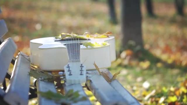 Guitar Lying On A Bench: Stock Video