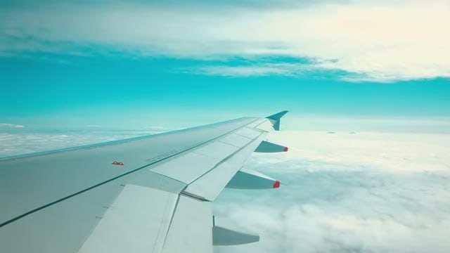 Airplane Wing Closeup While Flying: Stock Video