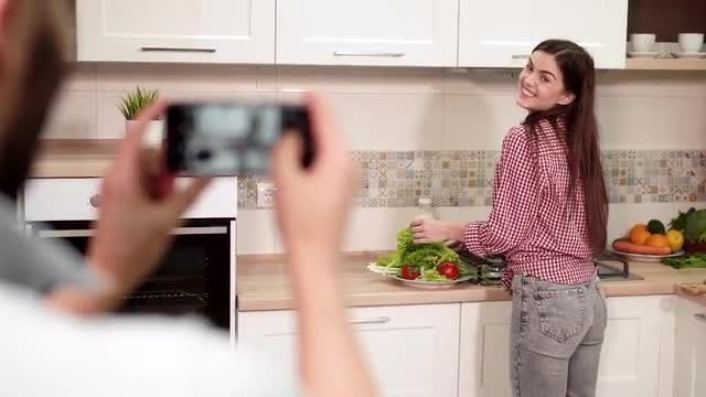 Taking Pictures In The Kitchen: Stock Video