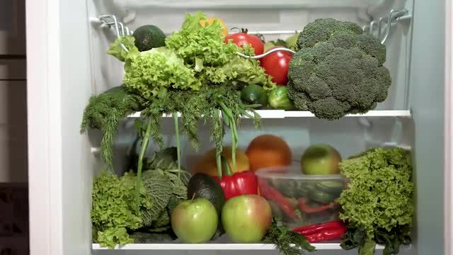 Closeup Of Full Fridge: Stock Video