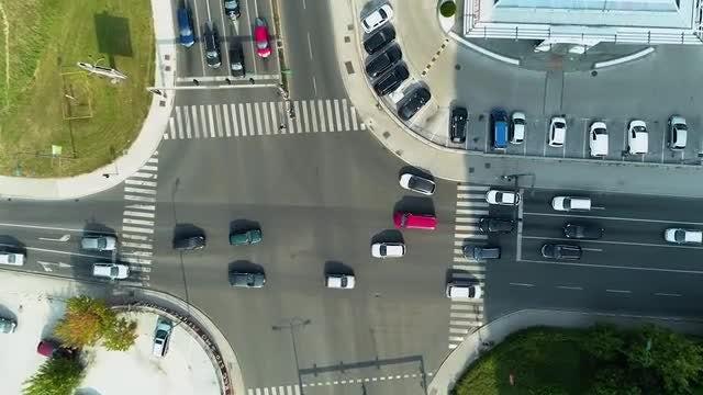 Crossroads Top View Descending Shot: Stock Video